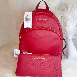 🌺 NEW MICHAEL KORS SCARLET ABBEY BACKPACK WALLET